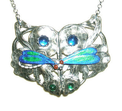 DRAGONFLY NECKLACE Art Nouveau Blue Green Wings Cabs Silver Plt Designer Signed