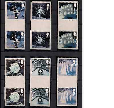 2003 Mnh Gb Qeii Christmas Ice Sculptures Stamp Gutter Pairs Sg 2410 - 2415 Mnh