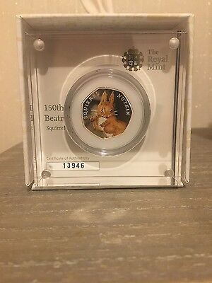 Silver Proof Squirrel Nutkin 50p Coin 2016