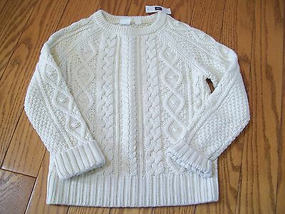 GAP KIDS Baby Girl's COTTON CABLE KNIT FISHERMAN SWEATER NEW NWT * sz. S 6 - 7