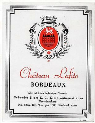 Chateau Lafite, Bordeaux, original antique European SAMPLE wine label #6