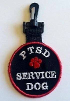PTSD Service Dog Patch DOUBLE SIDED CLIP ON ID TAG RC-200 Patch