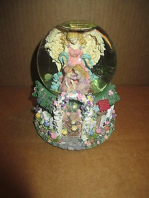 Beautiful Angel in The Garden with Sisters Snow Globe Nice Must See