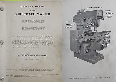 VINTAGE Gorton 2-30 TraceMaster Tracer Mill Parts Maintenance Book Manual Repair