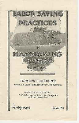 U.S.D.A Farmers' Bulletin No.987 Labor Saving Practices in Haymaking 1918