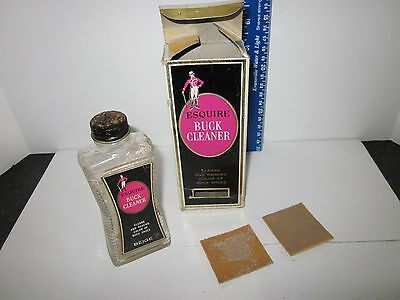 Vintage Esquire Buck Cleaner For Beige Shoes Original Box, Bottle & Pads