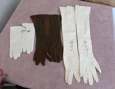 Vintage Opera Leather Gloves Lot of 3