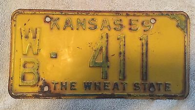 Good Solid Vintage 1959 Kansas License Plate Visit My Store