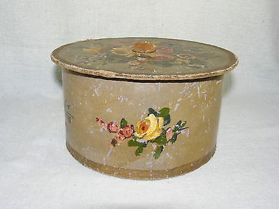 Antique Wallpaper Box - Hand Painted - Paper & Cardboard