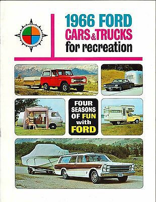 1966 Ford Car & Truck Recreational Brochure Mustang F100 Bronco Ranchero Falcon