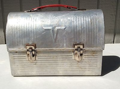 Vintage Aluminum Tin Metal Thermos Dome Top Lunch Box No Thermos