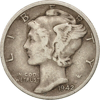 [#407777] United States, Mercury Dime, Dime, 1942, U.S. Mint, Denver, EF(40-45)