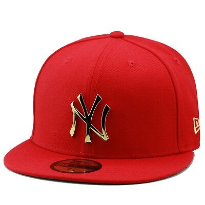 b8945b4728199 New Era New York Yankees Fitted Hat Cap RED GOLD BADGE For foamposite 1  supreme