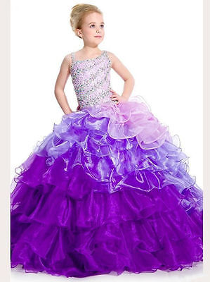 Sale US Stock Size 8 Flower Girls Dress Party Birthday Ball Gown Pageant Wedding