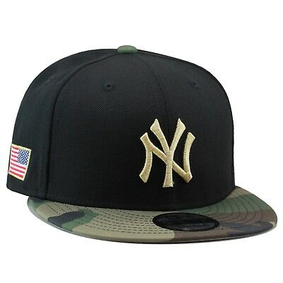 New Era New York Yankees Snapback Hat Black Camo Gold USA American Flag cb805927119