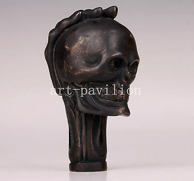 Limited Edition Bronze Statue Palm Skull Cane Walking Stick Head Figurines