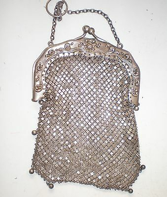 Sterling Silver Antique Chatelaine Finger Ring Purse +GST
