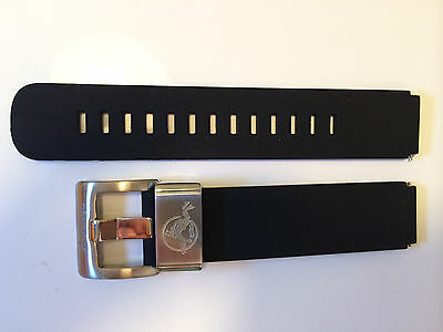 Watch Strap Band 18Mm Black Silicone Rubber Steel Loop Fit Vostok Amphibian