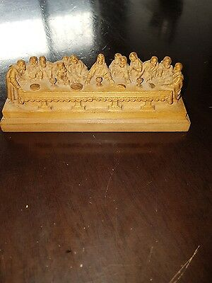 VINTAGE Religious Statue WOOD WOODEN LAST SUPPER