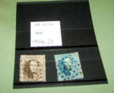 Belgium Stamps,  Sg 25 & 26 Fine Used, Stated To Catalogue £19.