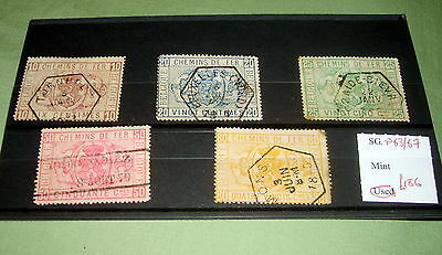 Belgium Stamp Set, Sg P63-67, Fine Used, Stated To Catalogue £156.