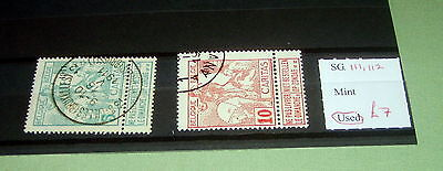 Belgium Stamps, Sg 111 & 112, Fine Used, Stated To Catalogue £7.