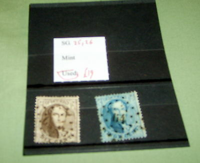 Belgium Stamps,  Sg 25, 26, Fine Used, Stated To Catalogue £19.