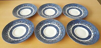 "Set of 6 x Churchill Willow Pattern Blue & White Saucers 5.5"" Vintage England"