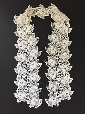Vintage 1950's Collar/ Front Of Blouse French Cotton Guipure Lace Pre-used Exc