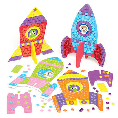 Rocket Mosaic Decoration Kit Creative Craft Set for Kids to Paint (Pack of 4)