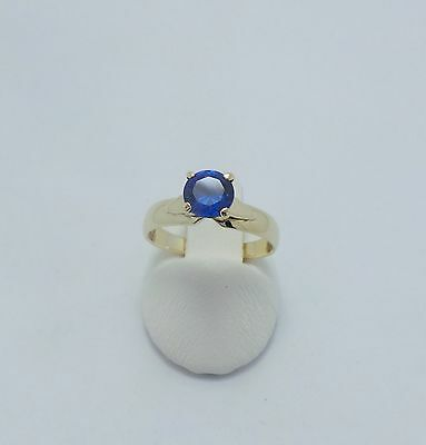 9ct YELLOW GOLD BLUE SAPPHIRE SOLITAIRE RING - RING SIZE L