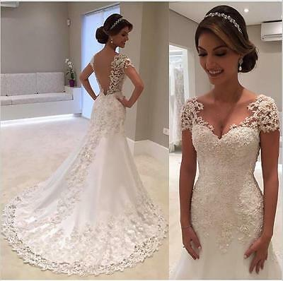 Gorgeous Appliques Beaded White/Ivory Wedding Dress Mermaid 2017 Bridal Gown New