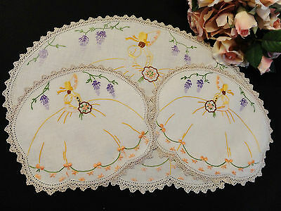 Vintage Hand Embroidered Duchess Set Crinoline Lady