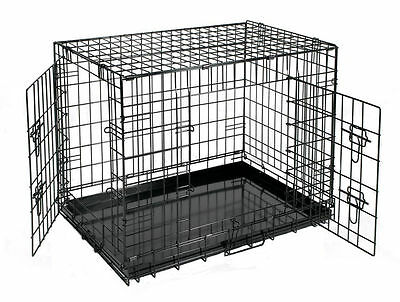 """18""""-48"""" Pet Cage Crate Black Metal Wire Transport Carrier Indoor Dog Cat House"""