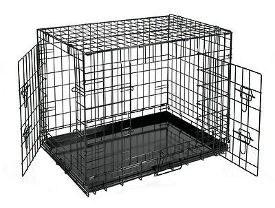 """24"""" SMALL Pet Cage Crate Black Metal Wire Transport Carrier Indoor Dog Cat House"""