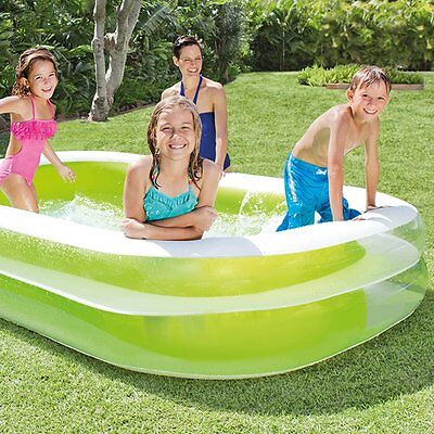 Intex Large Deluxe Rectangular Inflatable Family Swimming Paddling Pool Fun New