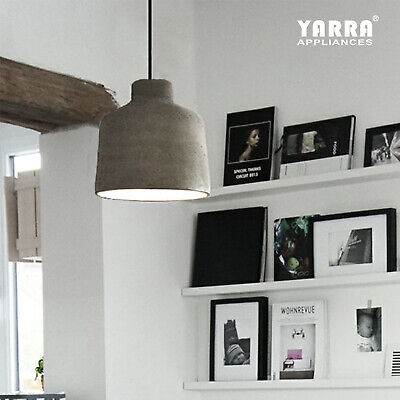 Industrial Cement Pendant Light Fitting Ceiling Lamp 2M Cord Cafe Loft Bar Grey