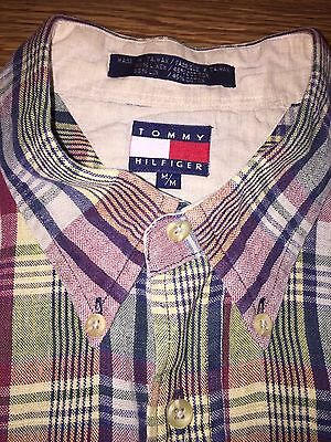 Vintage Men's Tommy Hilfiger Long Sleeve Button Down Shirt Size M Flag Logo 90's