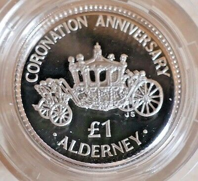 1993 Alderney £1 One Pound .925 Silver Coin Coronation Anniversary ~ Royal Mint