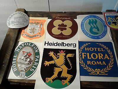 8 Vintage Hotel Luggage Label Stickers
