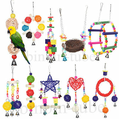 Colorful Pet Swing Birds Toy Macaw Canary Parrot Rope Harness Cage Hanging Toys
