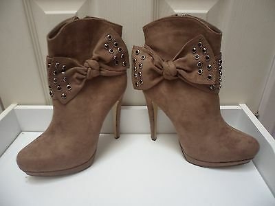 Womens Ladies Khaki Faux Suede High Heel Shoes Ankle Boots Size UK 4,5,6,7,8 New