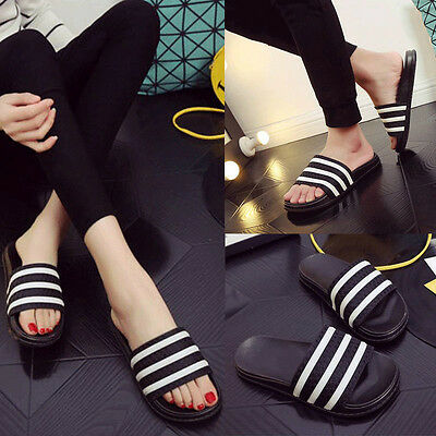 Ladies Mens Flat Slider Stripe Slippers Slip On Mules Sandals Shoes Plus Size