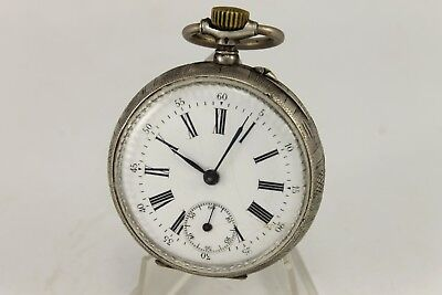 Antique Swiss Remontoir Cylindre 6 Rubis Silver Pocket Watch Enamel Dial 1900's