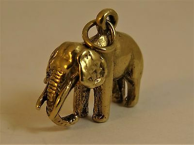 Vintage Solid 9ct Yellow Gold African ELEPHANT Good LUCK CHARM Pendant Hm  BC9