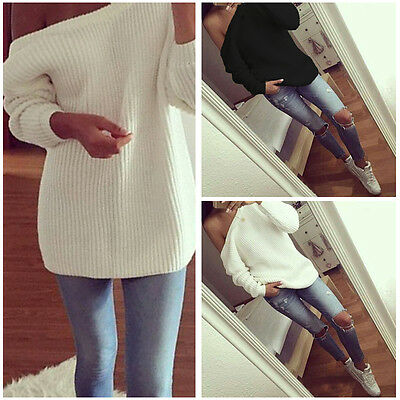 Sexy Womens Off Shoulder Long Sleeve Knitted Sweater Casual Loose Tops Jumper