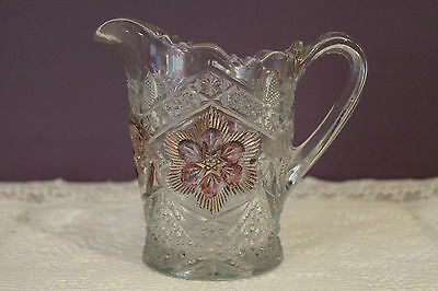 Eapg Indiana Glass Rayed Flower Gold And Ruby Red Milk Pitcher