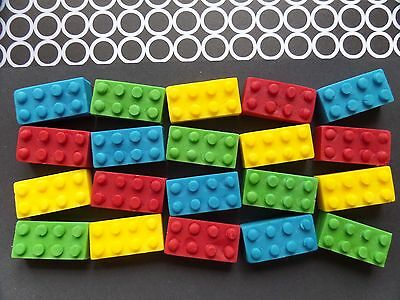 24 Large Sugar Paste Edible Legos Cake Toppers - FREE DELIVERY!