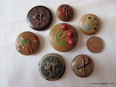5151 – 7 Pressure Molded Wood Raised Pattern 1930s-1950s Pictorial Buttons