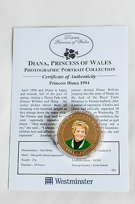 coin2007 GOLD PLATED PROOF COOK ISL $1 COLOURED PORTRAIT COIN PRINCESS DIANA